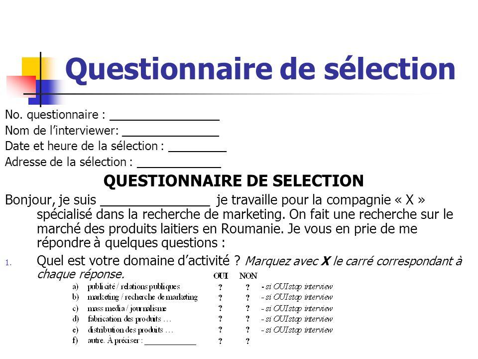 Questionnaire de sélection