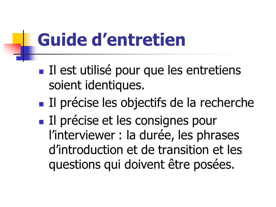 Guide d'entretien Il est utilisé pour que les entretiens soient identiques. Il précise les objectifs de la recherche.