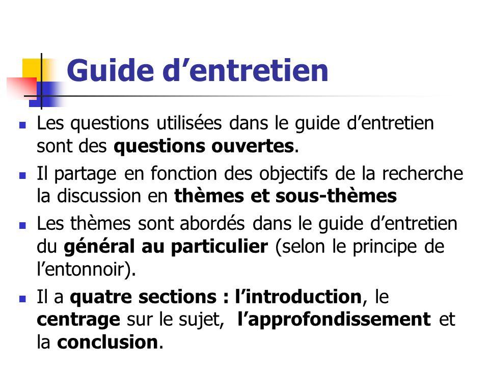 Guide d'entretien Les questions utilisées dans le guide d'entretien sont des questions ouvertes.