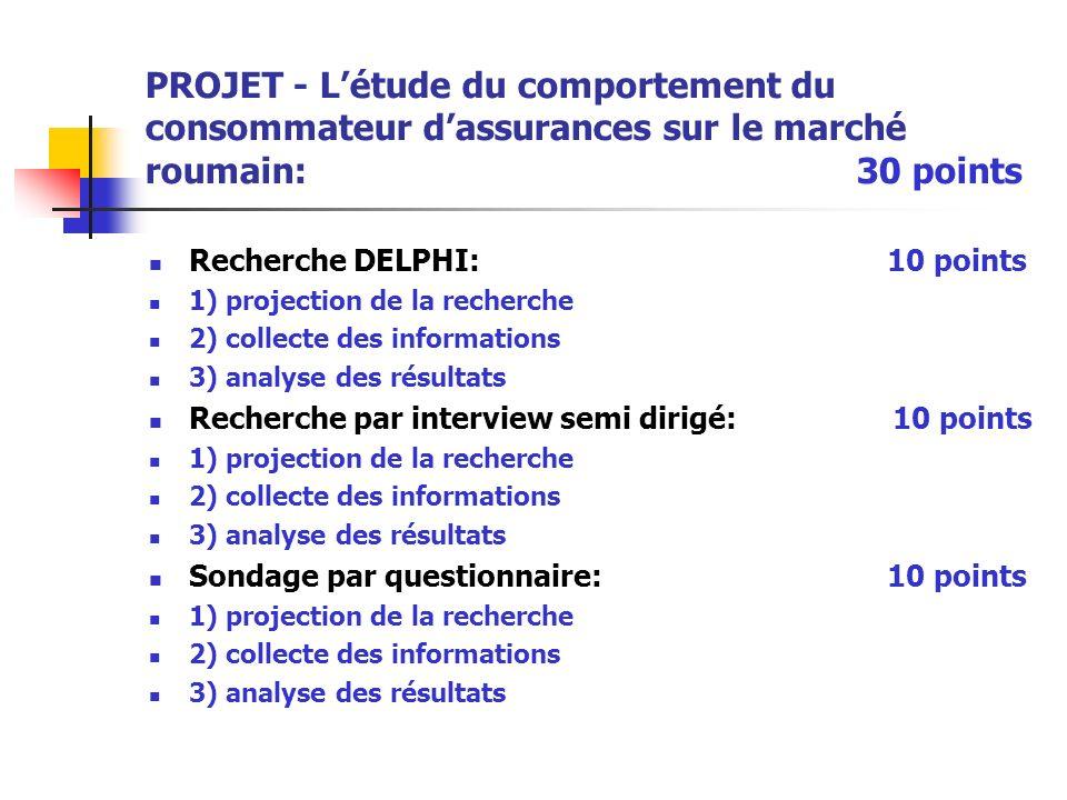 PROJET - L'étude du comportement du consommateur d'assurances sur le marché roumain: 30 points