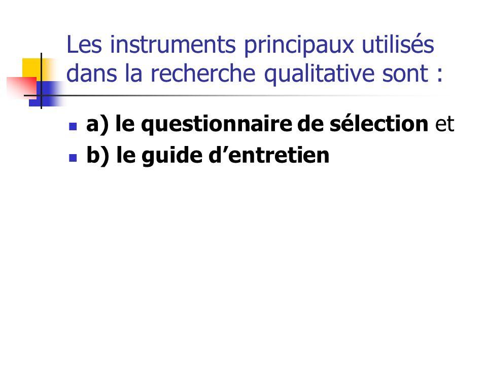 Les instruments principaux utilisés dans la recherche qualitative sont :