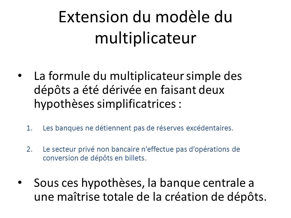 Extension du modèle du multiplicateur