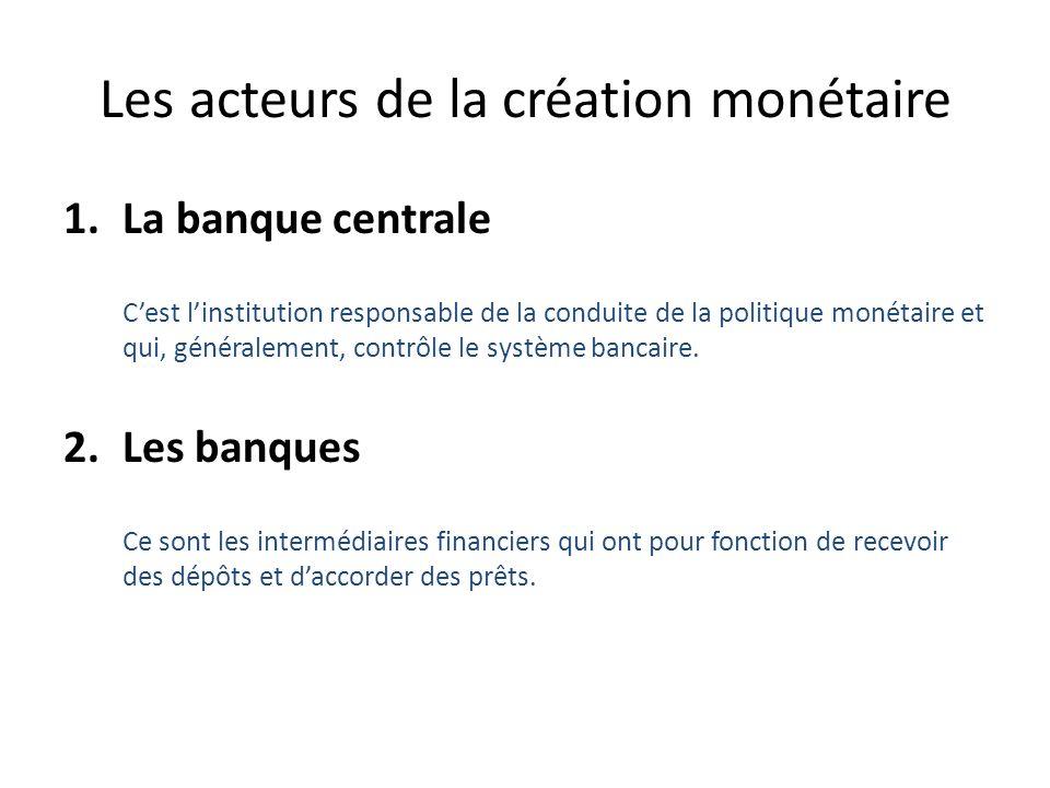 Les acteurs de la création monétaire