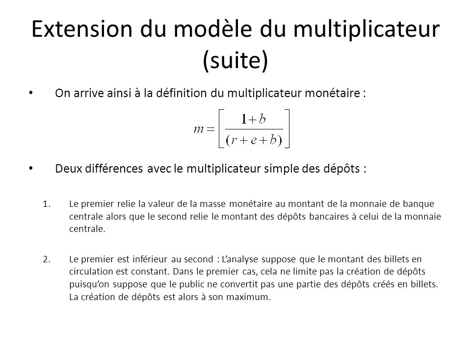 Extension du modèle du multiplicateur (suite)
