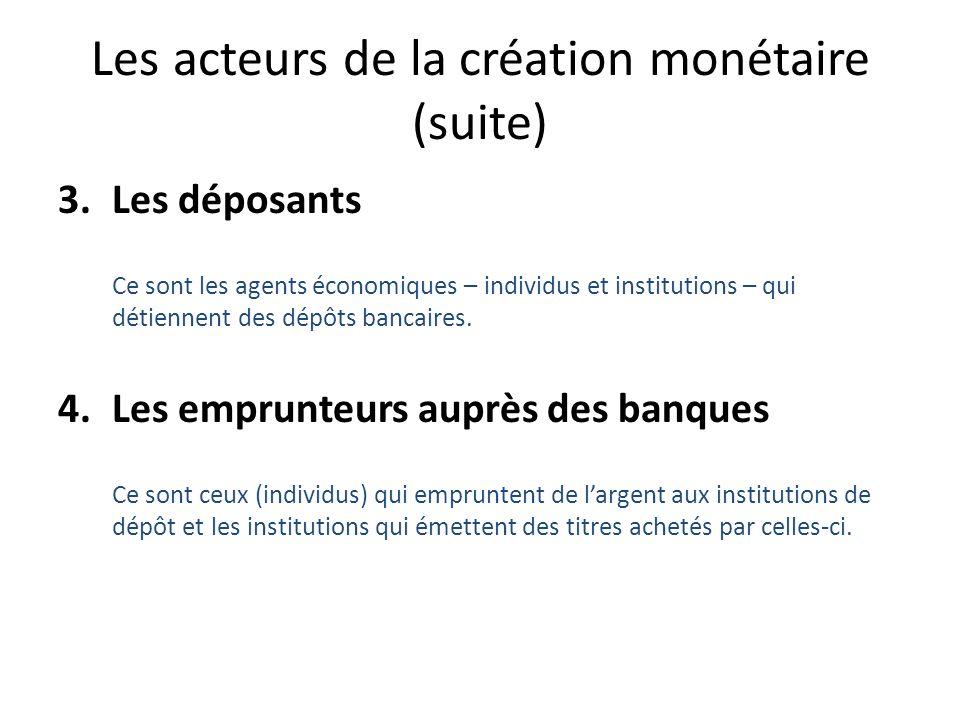 Les acteurs de la création monétaire (suite)