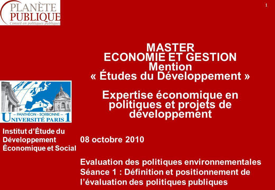 MASTER ECONOMIE ET GESTION Mention « Études du Développement » Expertise économique en politiques et projets de développement