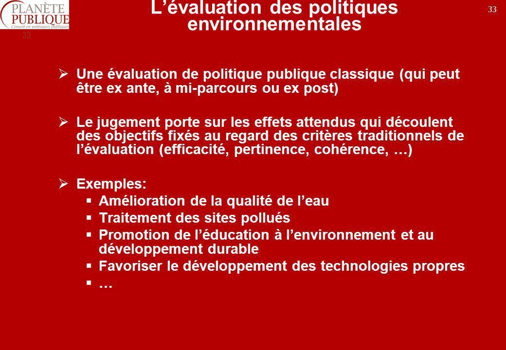 L'évaluation des politiques environnementales