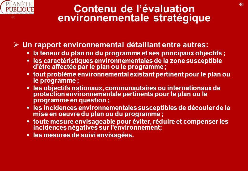 Contenu de l'évaluation environnementale stratégique