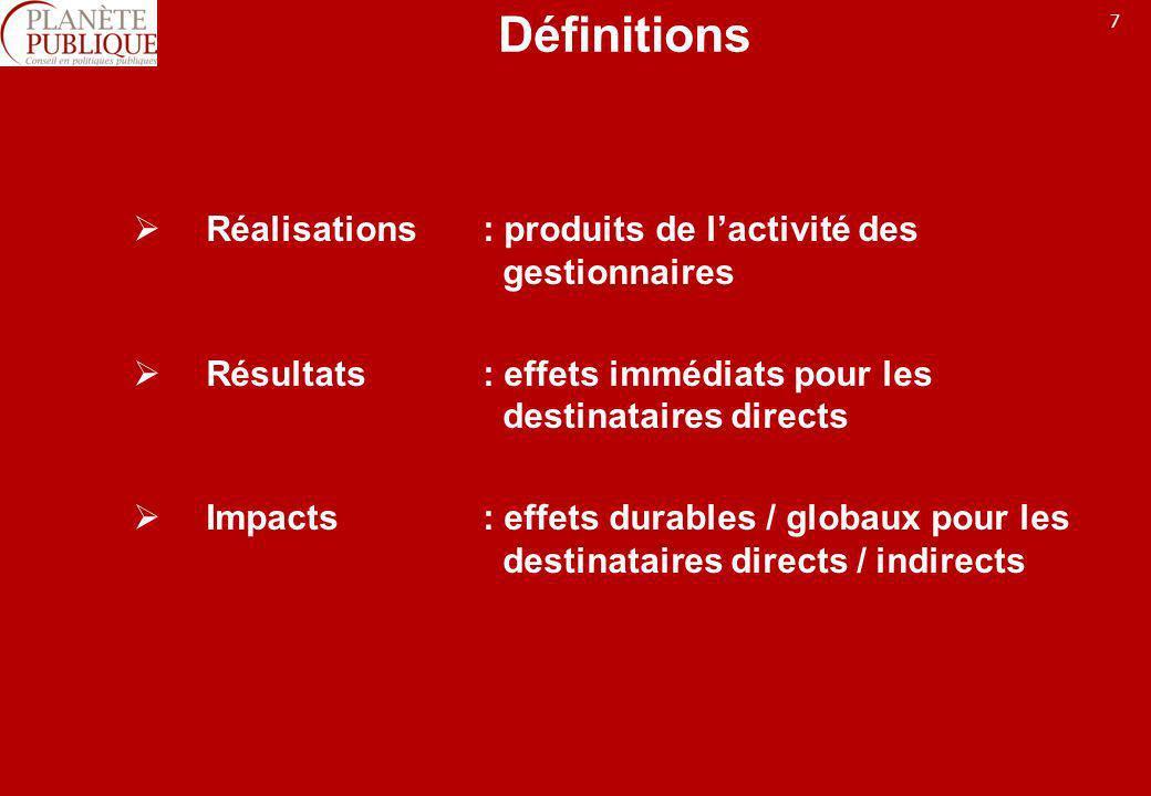 Définitions Réalisations : produits de l'activité des gestionnaires