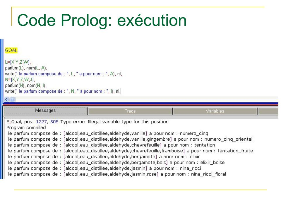 Code Prolog: exécution