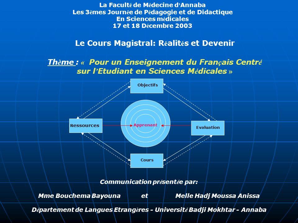 Le Cours Magistral: Réalités et Devenir