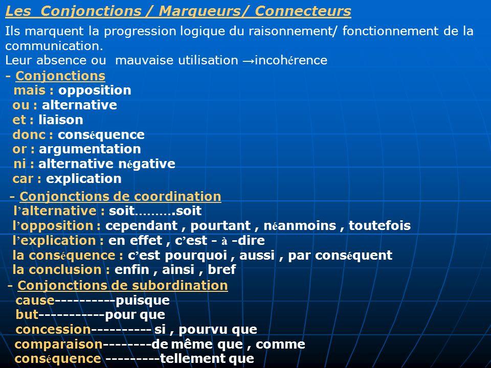 Les Conjonctions / Marqueurs/ Connecteurs