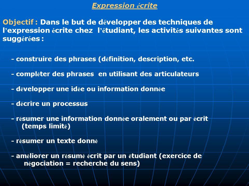 - construire des phrases (définition, description, etc.