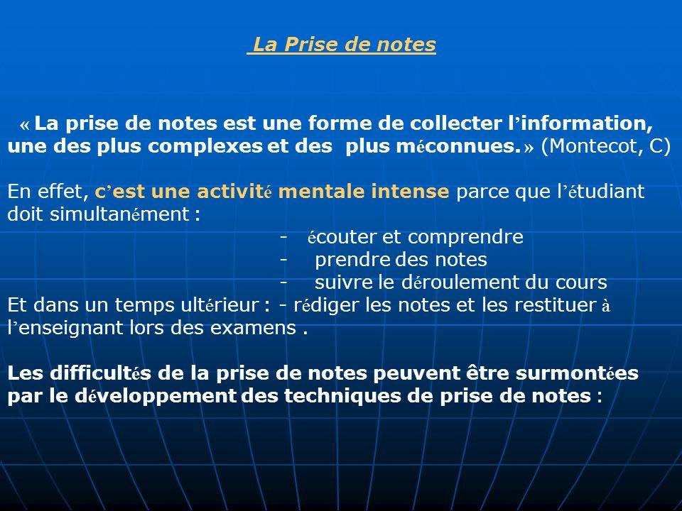 La Prise de notes « La prise de notes est une forme de collecter l'information, une des plus complexes et des plus méconnues. » (Montecot, C)