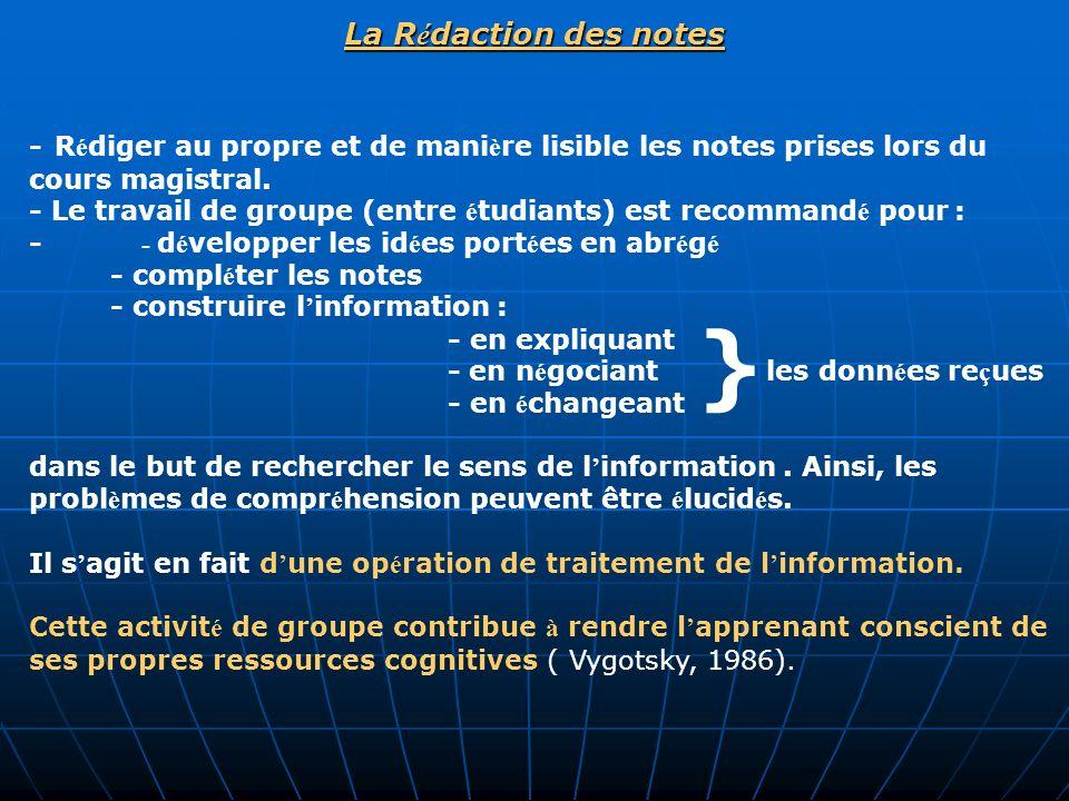 La Rédaction des notes }