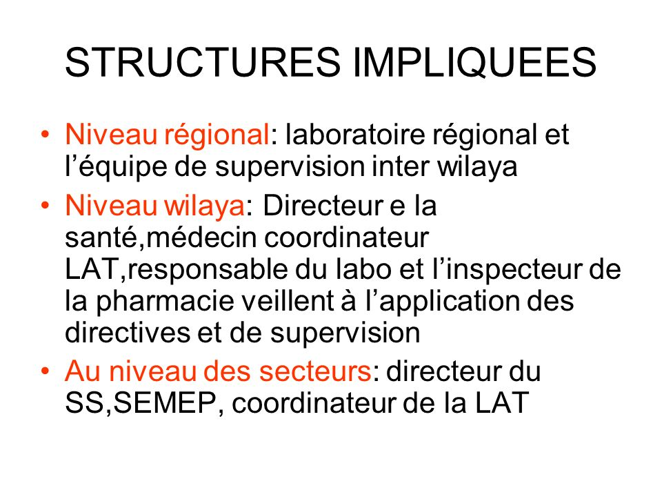STRUCTURES IMPLIQUEES