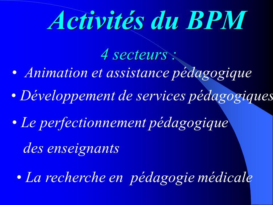 Activités du BPM 4 secteurs : Animation et assistance pédagogique