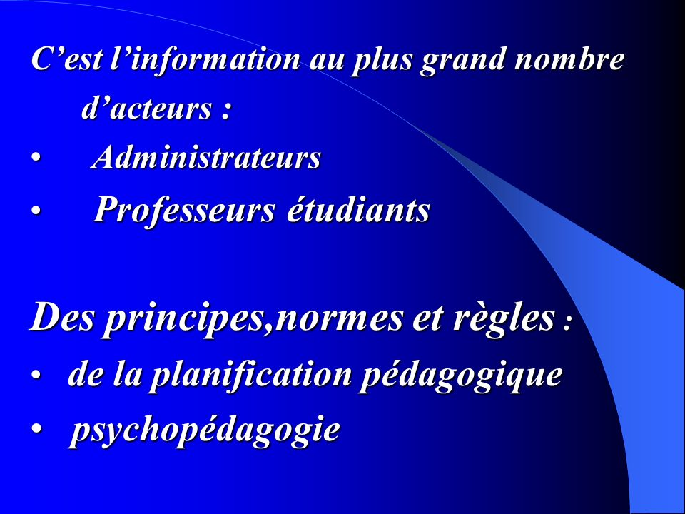 Des principes,normes et règles :