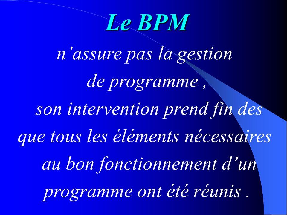 Le BPM n'assure pas la gestion de programme ,