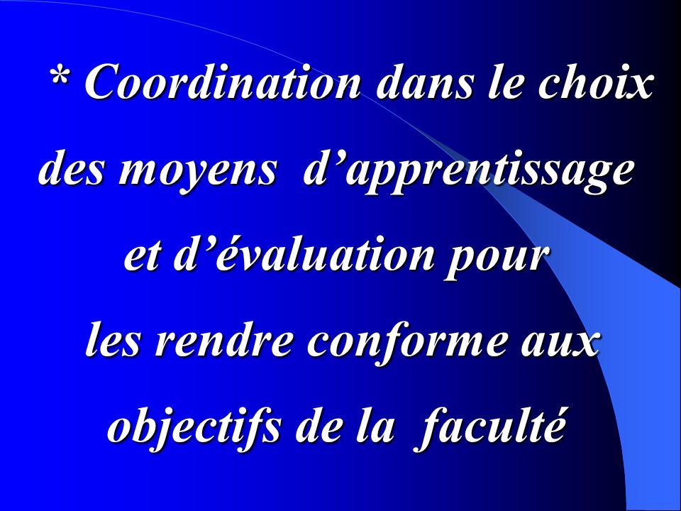 * Coordination dans le choix des moyens d'apprentissage