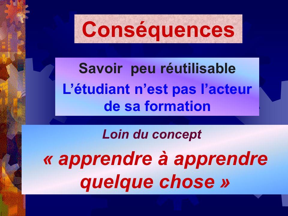 Conséquences « apprendre à apprendre quelque chose »