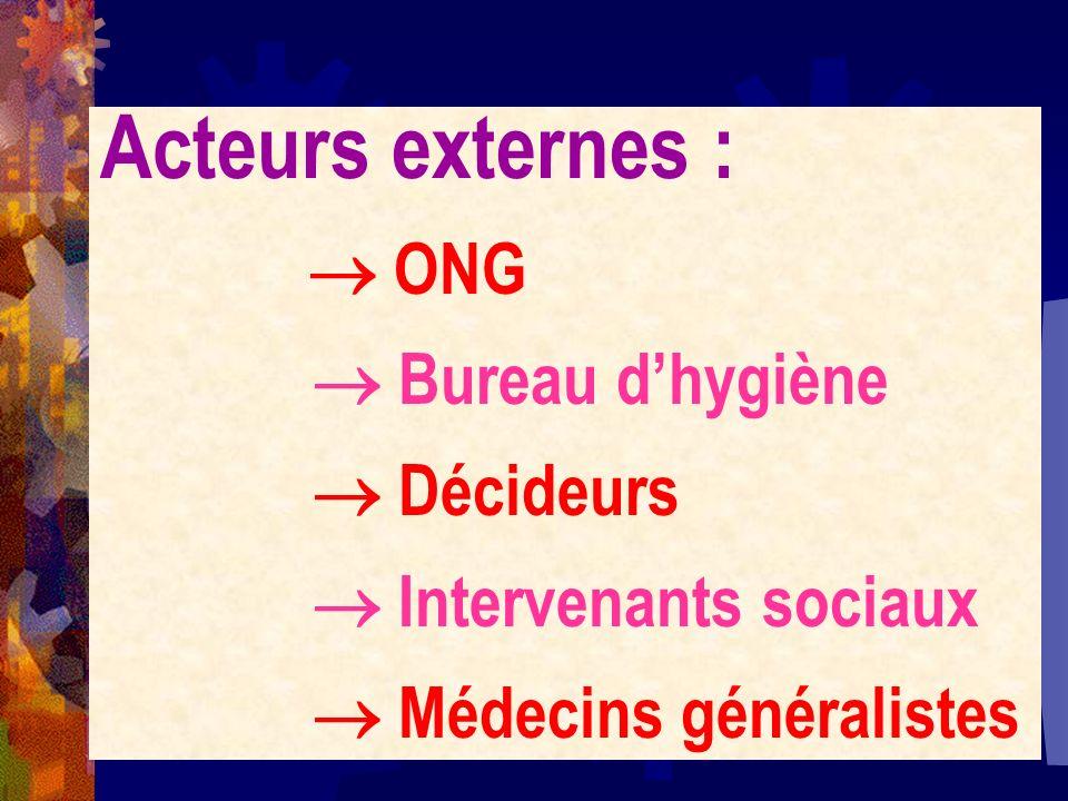 Acteurs externes :  Bureau d'hygiène  Décideurs
