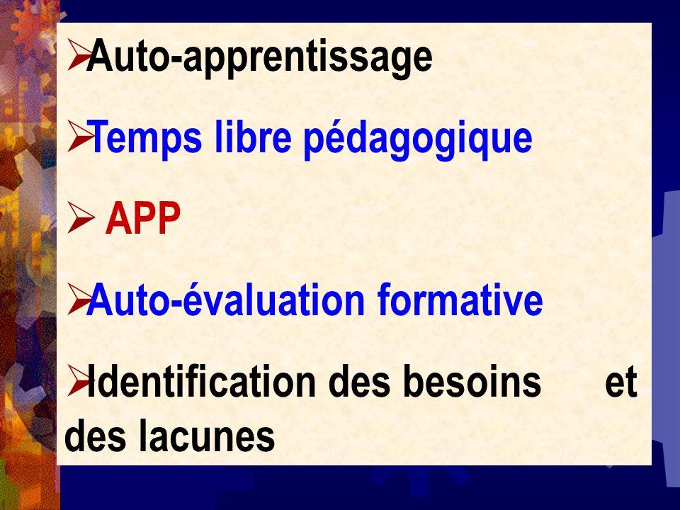 Auto-apprentissageTemps libre pédagogique.APP. Auto-évaluation formative.