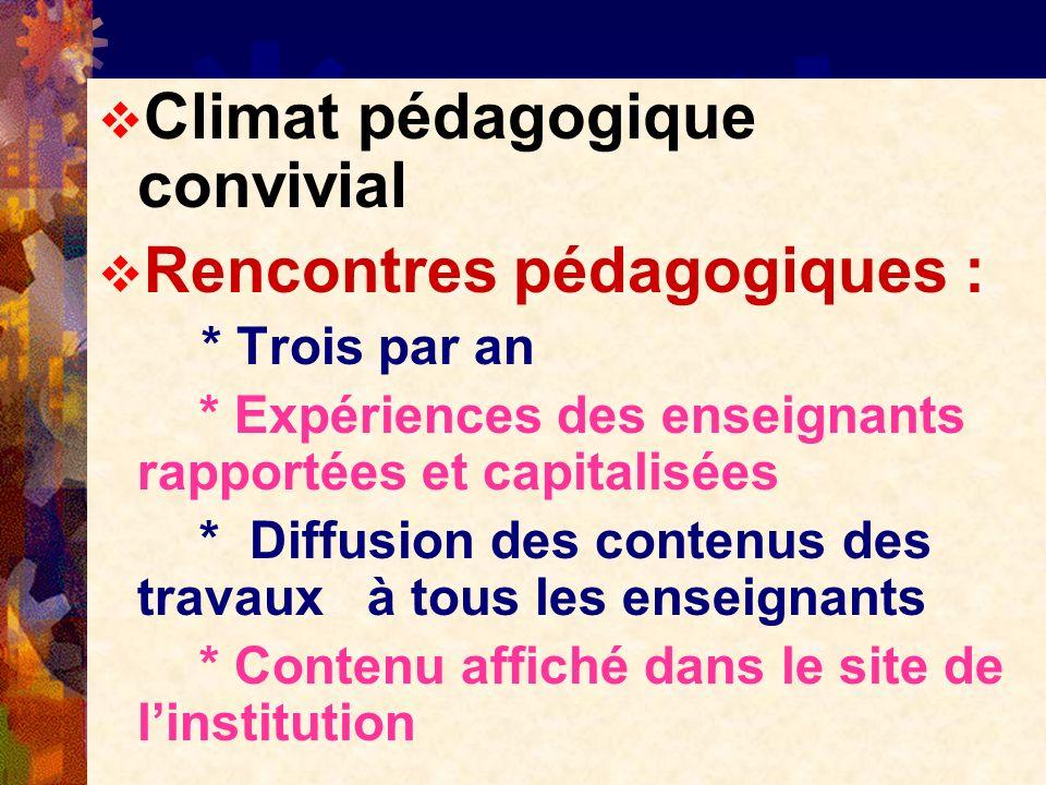 Climat pédagogique convivial Rencontres pédagogiques :