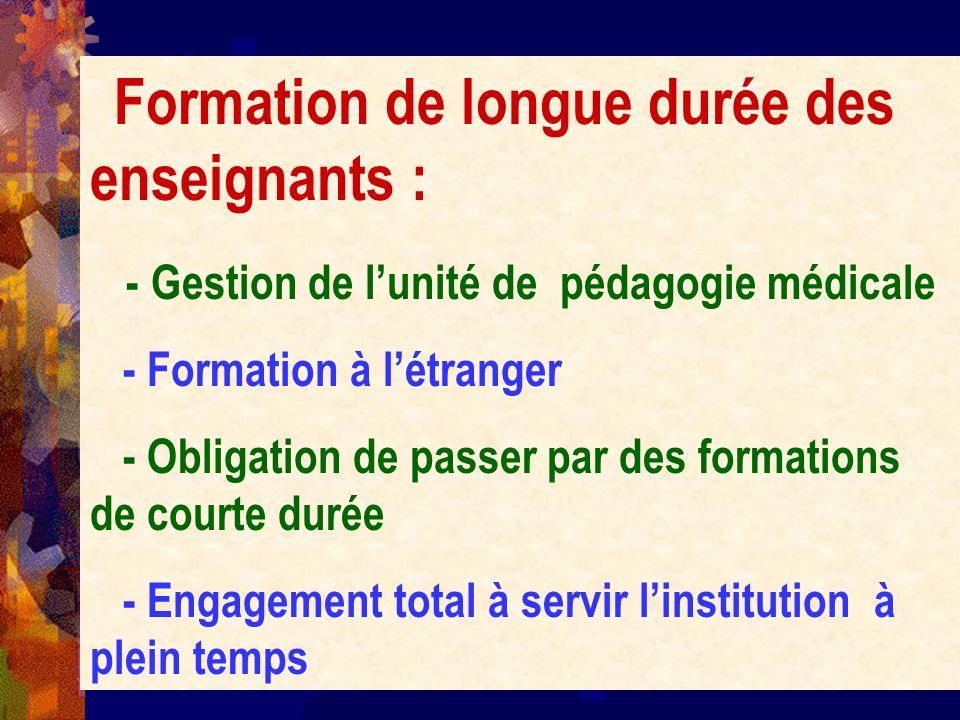 Formation de longue durée des enseignants :