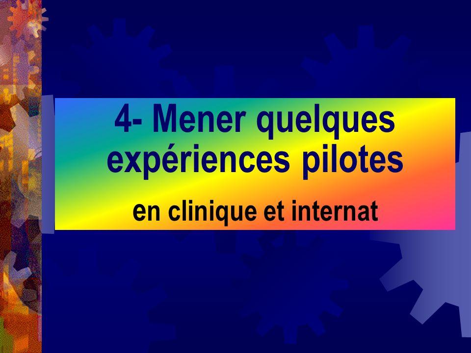 4- Mener quelques expériences pilotes en clinique et internat