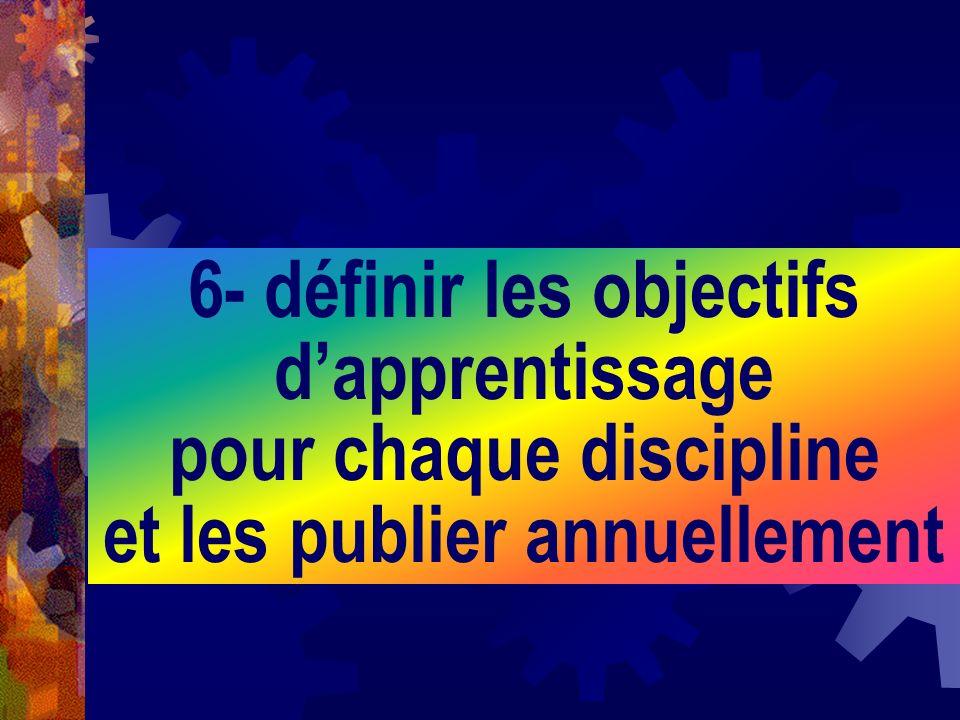 6- définir les objectifs d'apprentissage pour chaque discipline et les publier annuellement