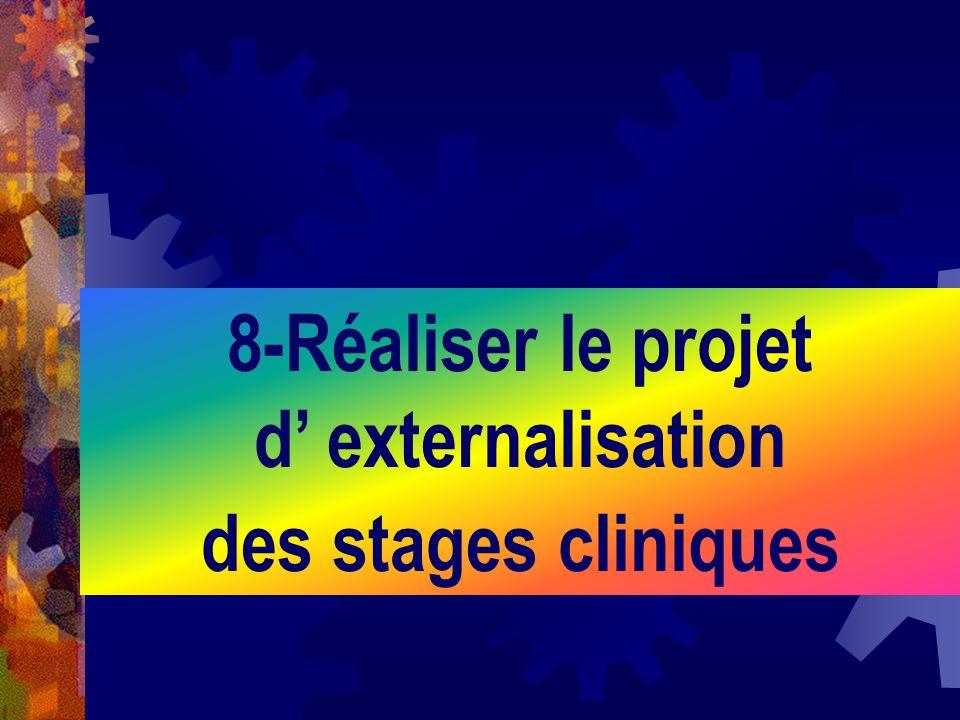 8-Réaliser le projet d' externalisation des stages cliniques