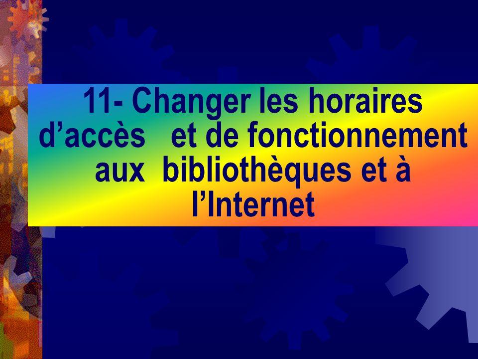 11- Changer les horaires d'accès et de fonctionnement aux bibliothèques et à l'Internet