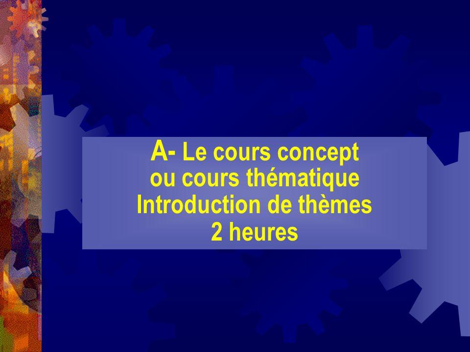 A- Le cours concept ou cours thématique Introduction de thèmes 2 heures