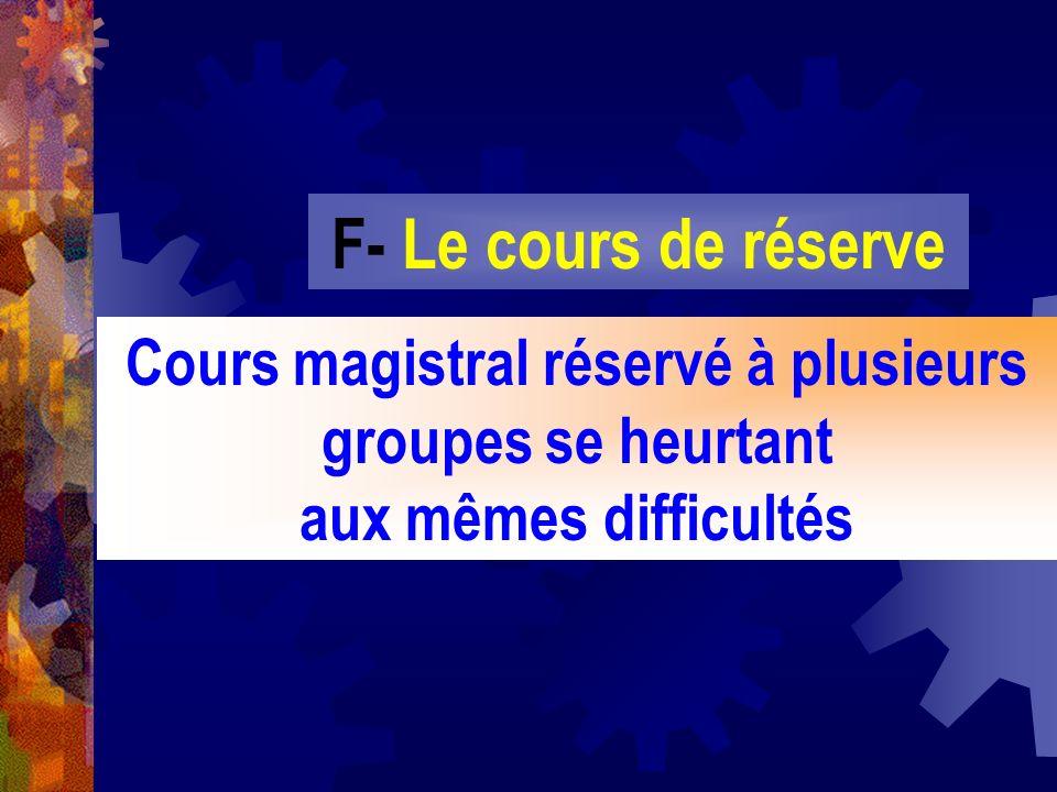 F- Le cours de réserveCours magistral réservé à plusieurs groupes se heurtant aux mêmes difficultés.