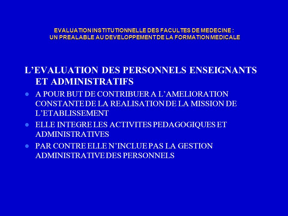 L'EVALUATION DES PERSONNELS ENSEIGNANTS ET ADMINISTRATIFS