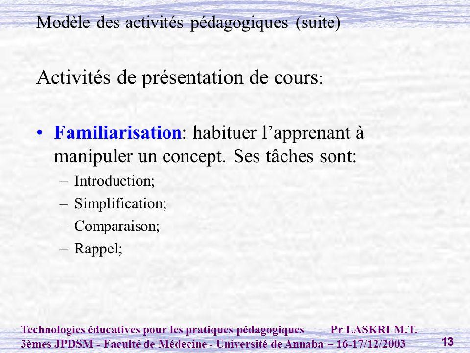 Activités de présentation de cours: