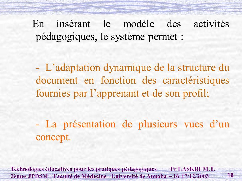 En insérant le modèle des activités pédagogiques, le système permet :