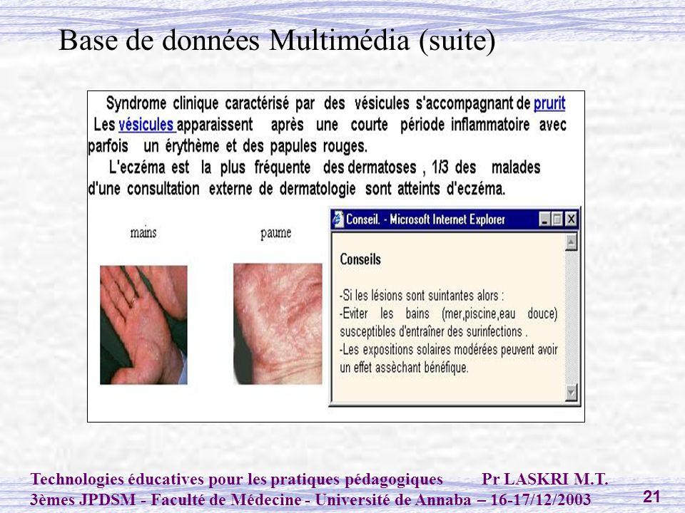 Base de données Multimédia (suite)
