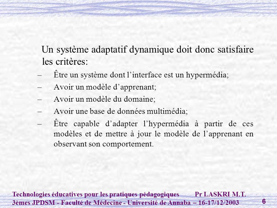 Un système adaptatif dynamique doit donc satisfaire les critères: