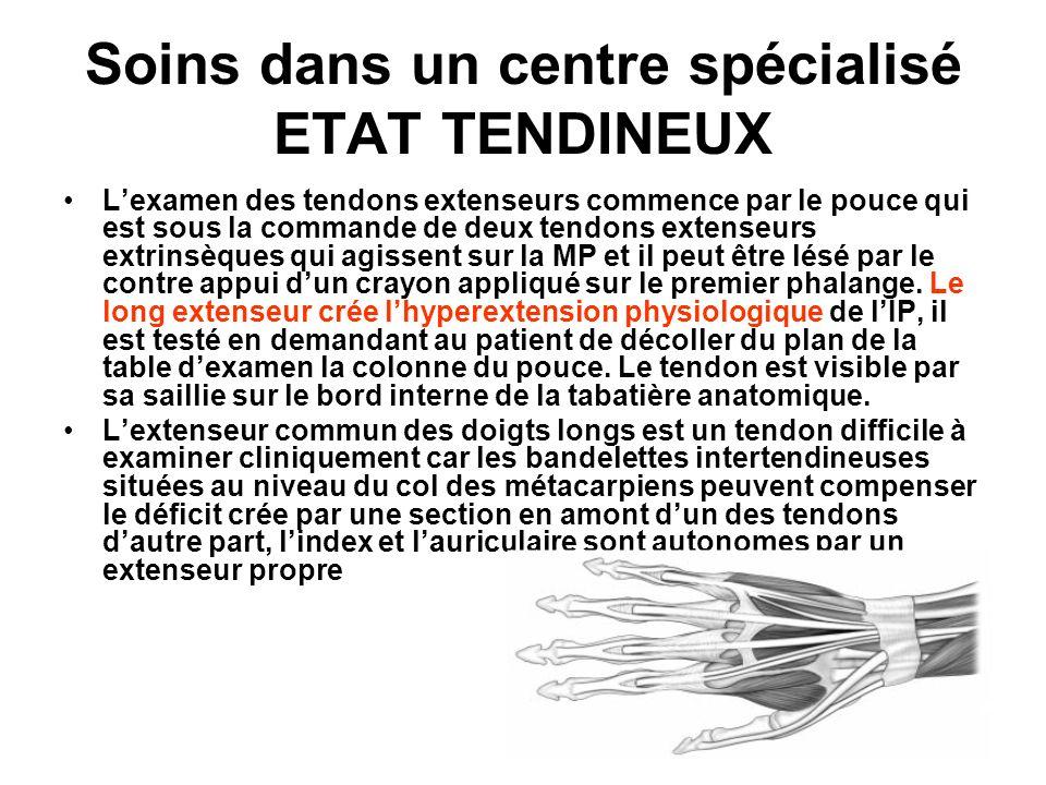 Soins dans un centre spécialisé ETAT TENDINEUX