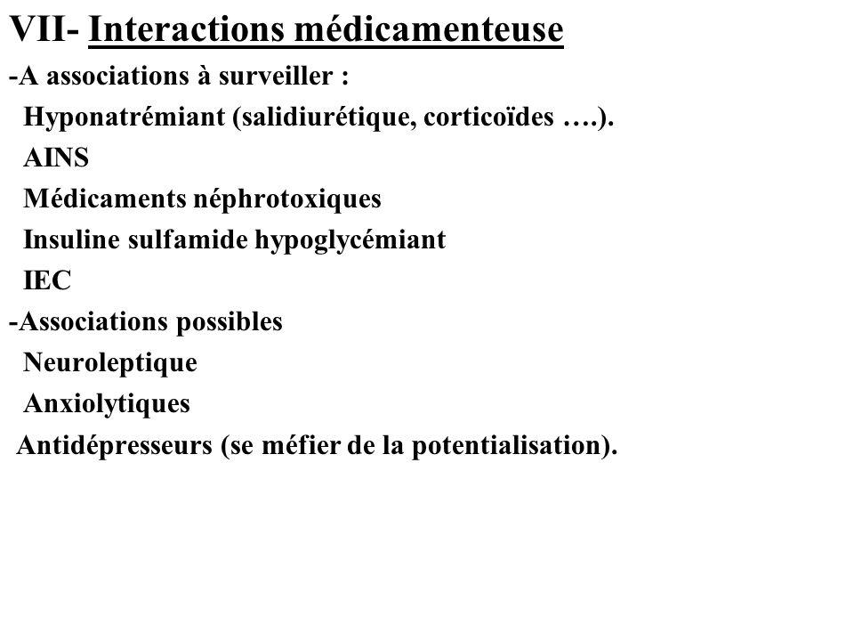 VII- Interactions médicamenteuse