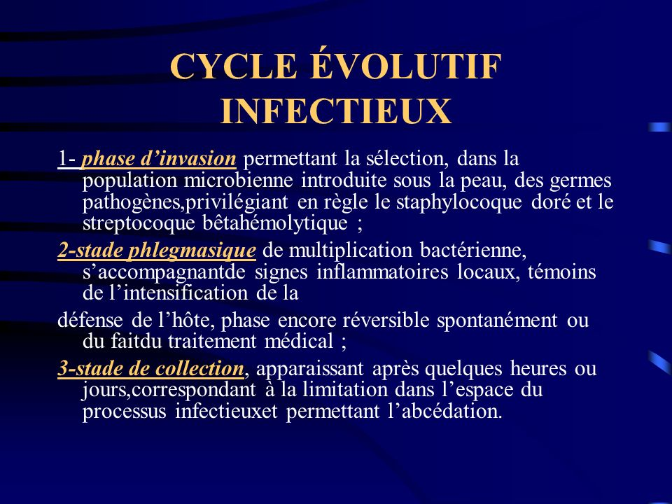 CYCLE ÉVOLUTIF INFECTIEUX