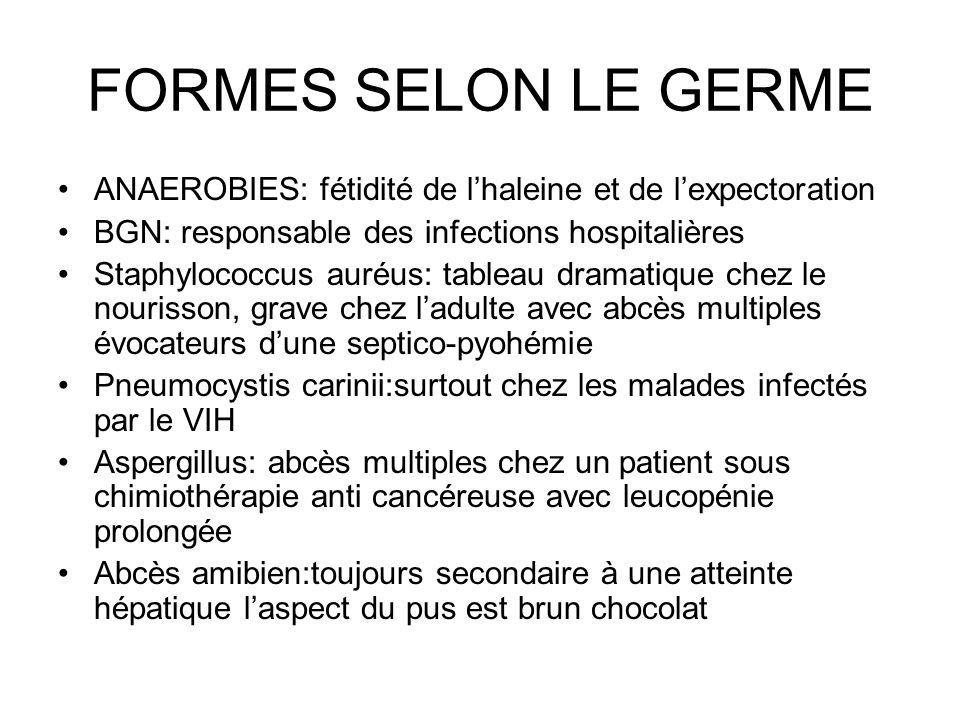 FORMES SELON LE GERME ANAEROBIES: fétidité de l'haleine et de l'expectoration. BGN: responsable des infections hospitalières.