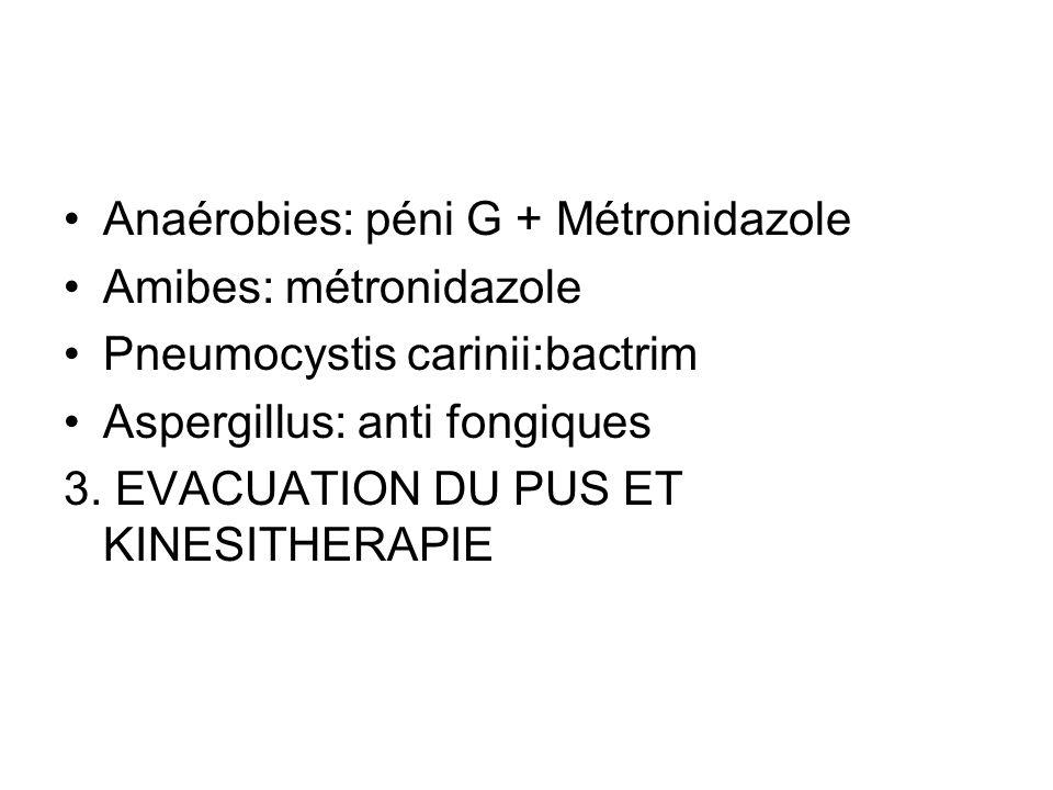 Anaérobies: péni G + Métronidazole