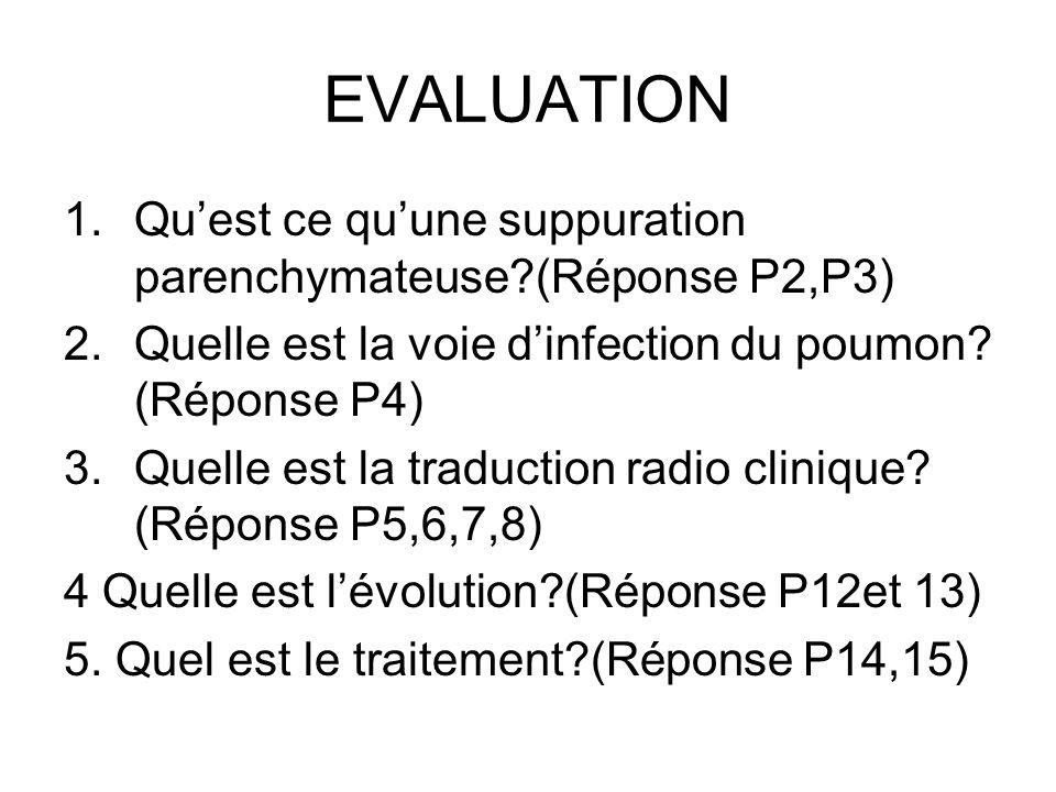 EVALUATION Qu'est ce qu'une suppuration parenchymateuse (Réponse P2,P3) Quelle est la voie d'infection du poumon (Réponse P4)