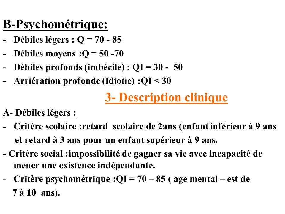 B-Psychométrique: Débiles légers : Q = 70 - 85