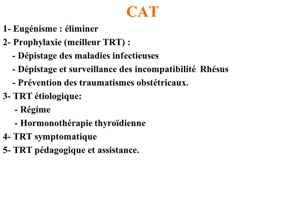 CAT 1- Eugénisme : éliminer 2- Prophylaxie (meilleur TRT) :