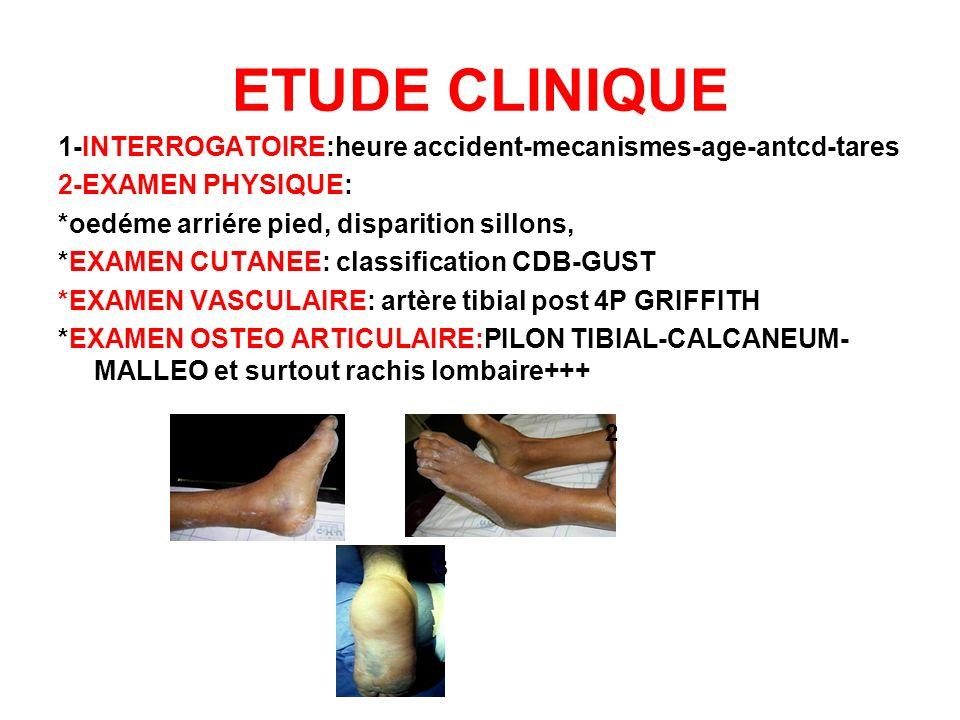 ETUDE CLINIQUE 1-INTERROGATOIRE:heure accident-mecanismes-age-antcd-tares. 2-EXAMEN PHYSIQUE: *oedéme arriére pied, disparition sillons,