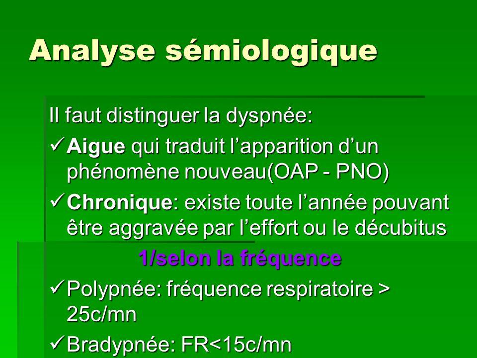 Analyse sémiologique Il faut distinguer la dyspnée: